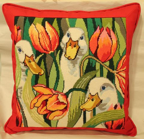 Ducks And Flowers Needlepoint