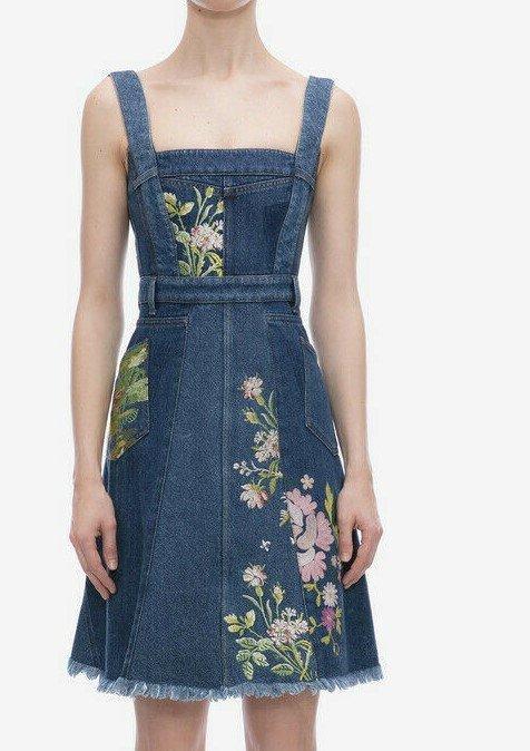 Sarah Burton embroidered flowers denim dresses