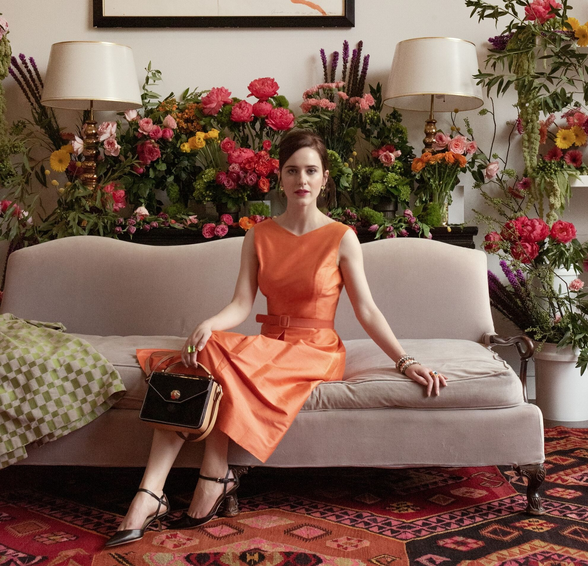 Rachel Brosnahan Surrounded By Roses