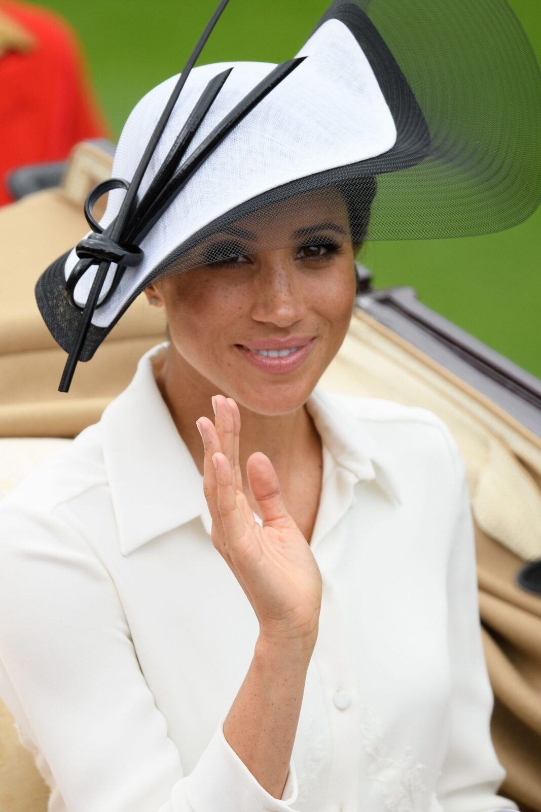 Royal Ascot Philip Treacy hat on Meghan Markle