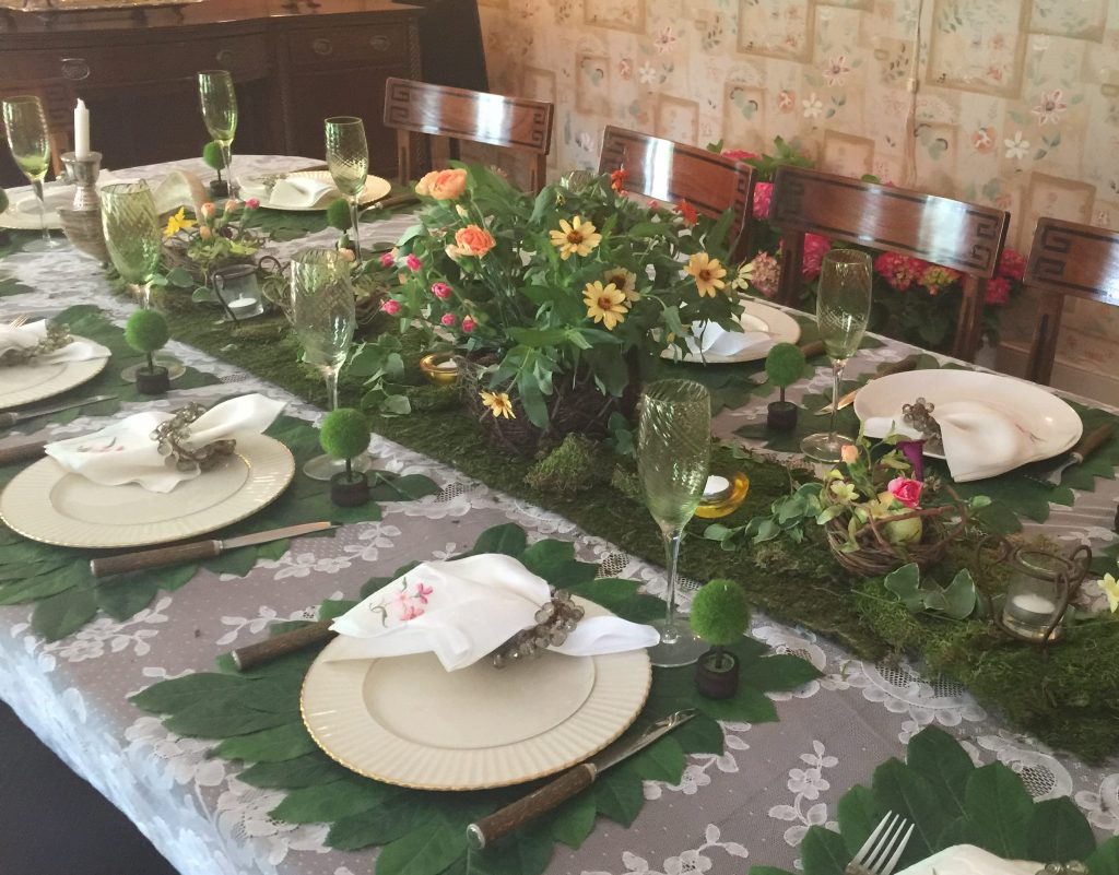 Green Floral Spring and Summer Table Settings