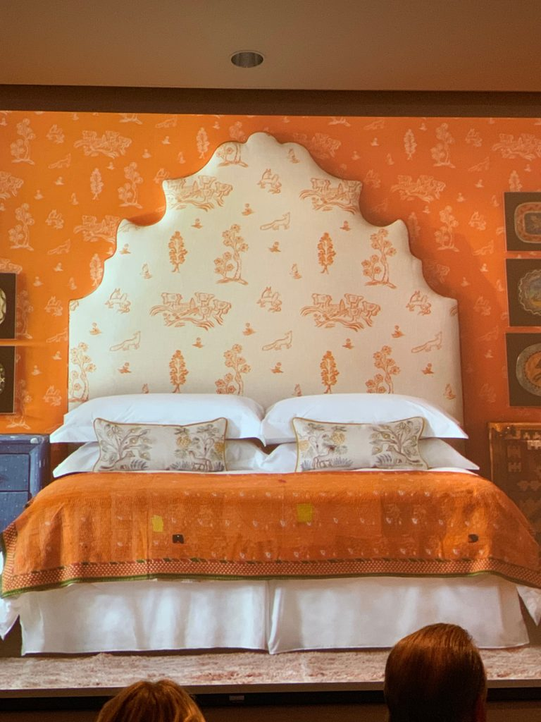 Orange White Kit Kemp Floral Headboard