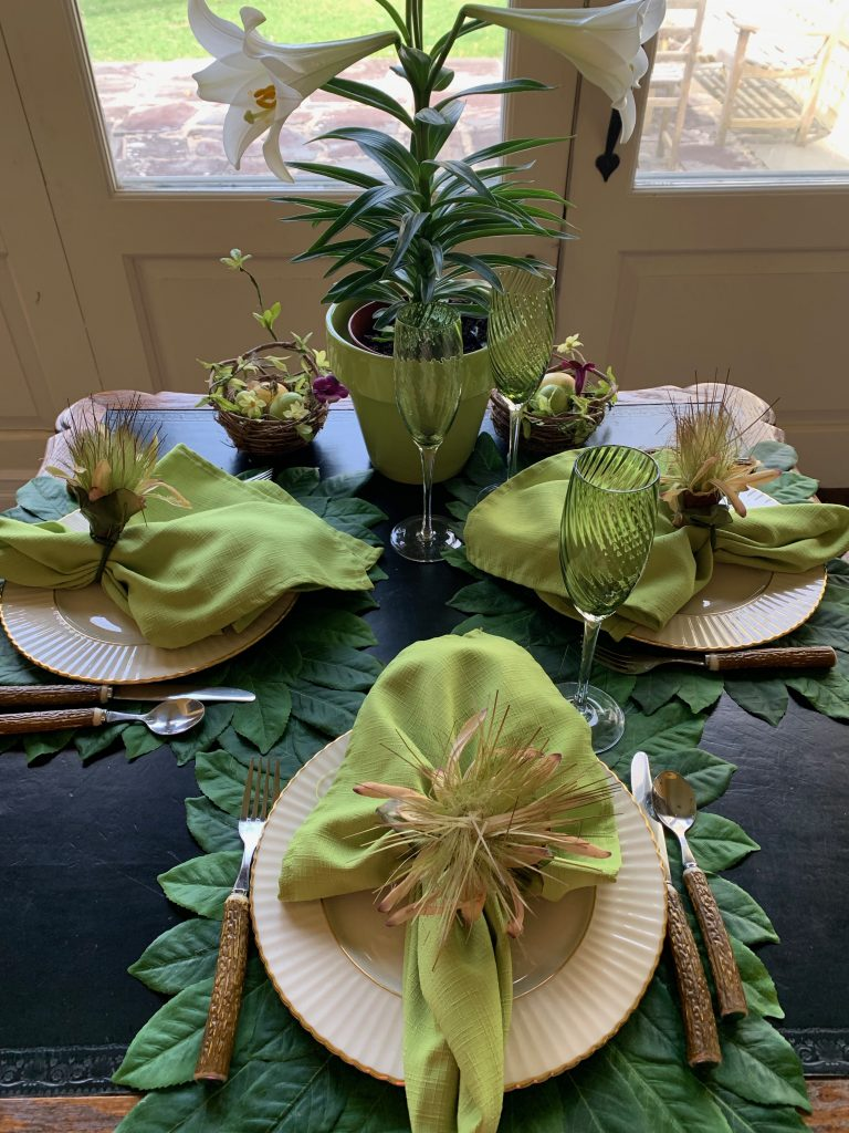 Beautiful Green Spring Summer Table Setting