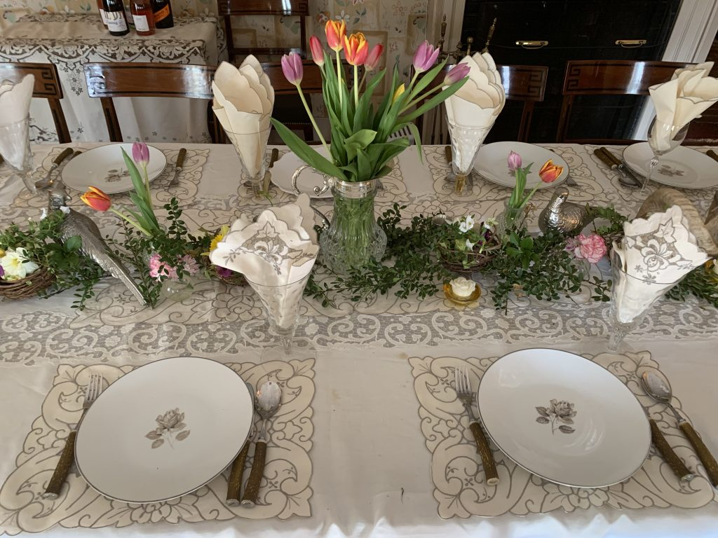 Formal Spring Table Settings With Flowers