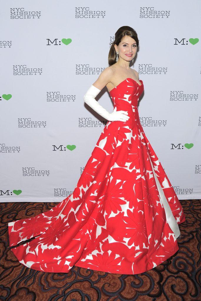 Jean Shafiroff Red Floral Dress