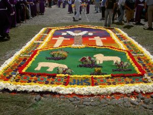 Religious Guatemalan Floral Carpet