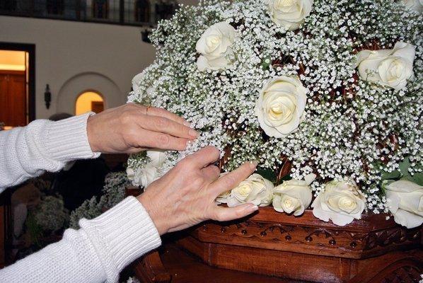 Rose Floral Arrangement On Tomb