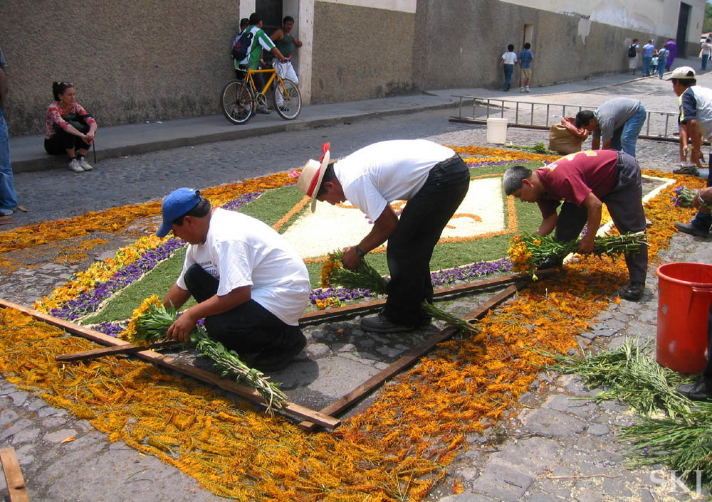 Guatemalans Create Floral Carpets