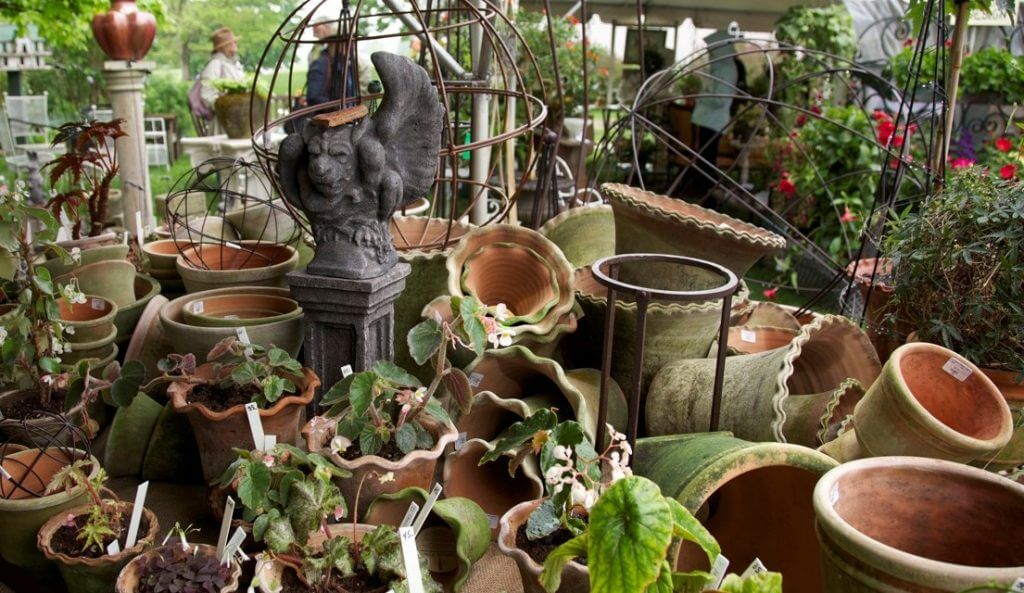 clay hand-made pots, trellises, garden statuary