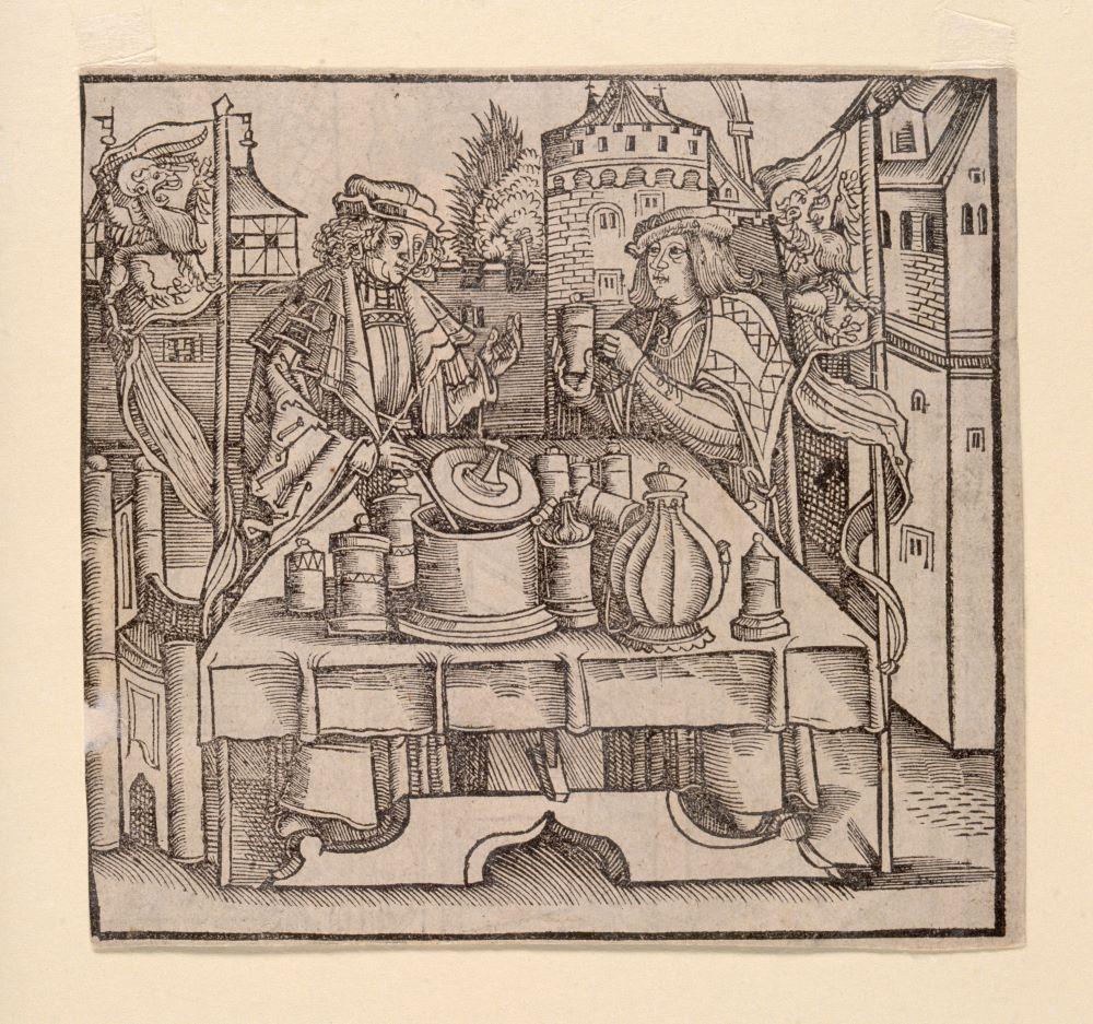 Alchemist working a surgeon Woodcut after Hieronymus Brunschwig