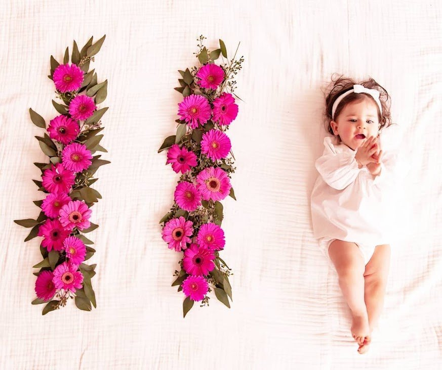 Vanessa Khachane's daughter With Flowers