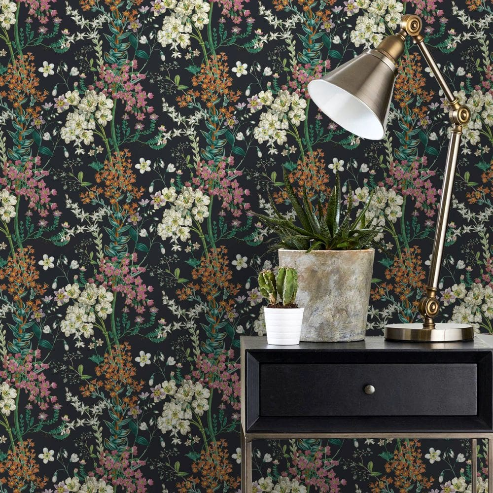 Floral Wallpaper With Desk and Lamp