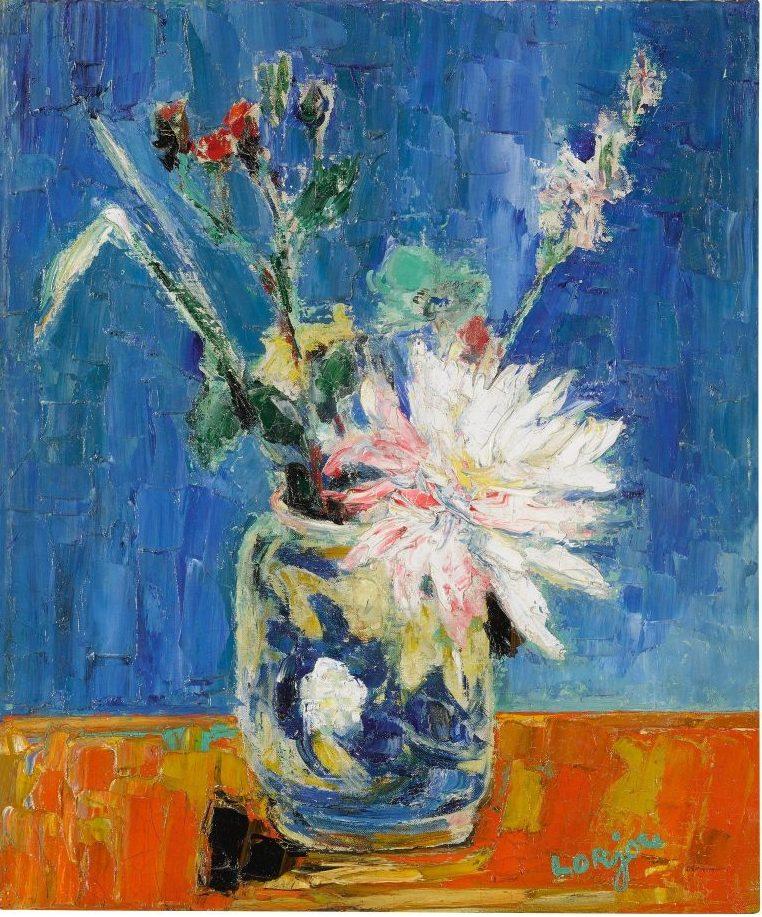"""Bernard Lorjou's """"Fleur Blanche au Fond Bleu"""""""