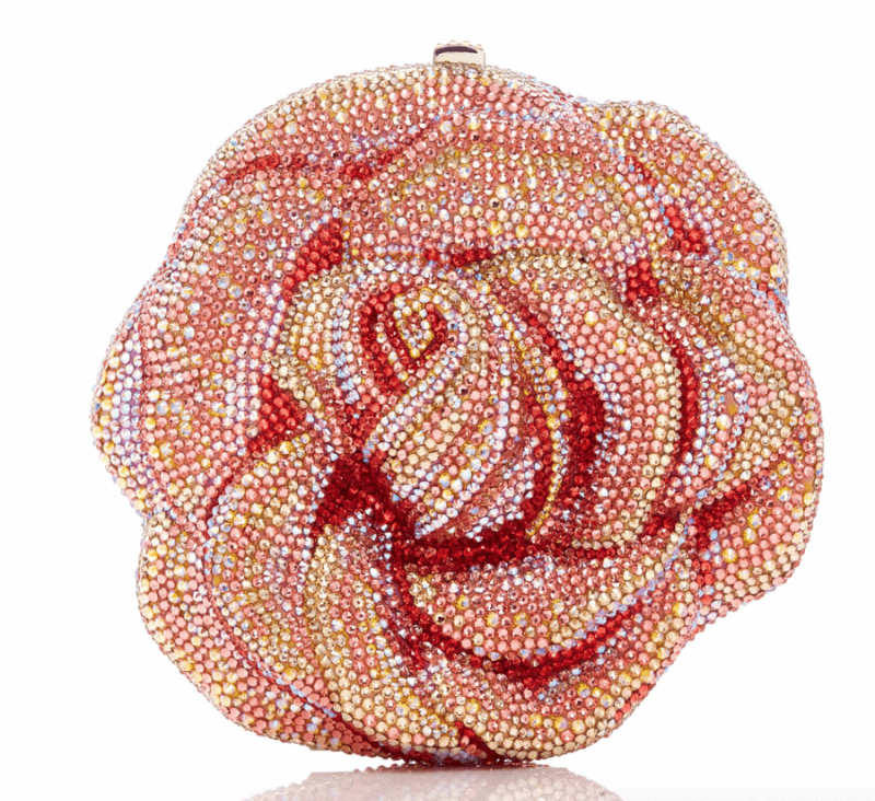 Crystal-Embellished Rose Clutch