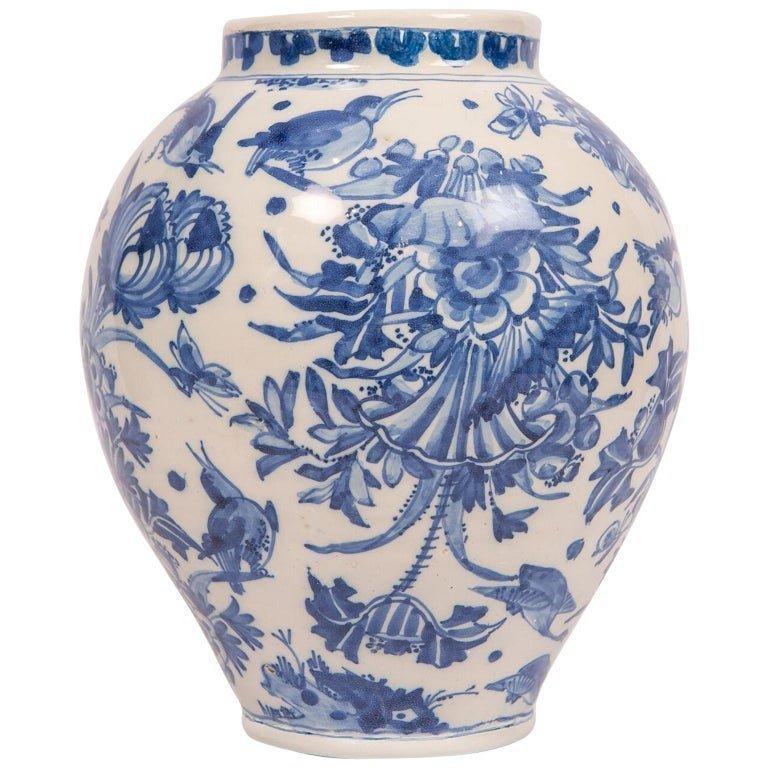Delftware Blue and White Flower Vase