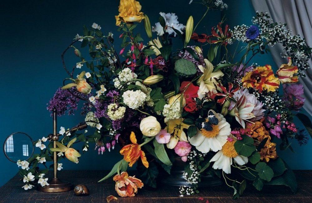 Flower arrangement against dark background