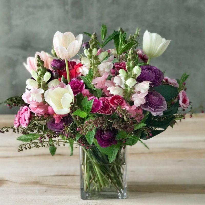 Arrangement of flowers in a vase