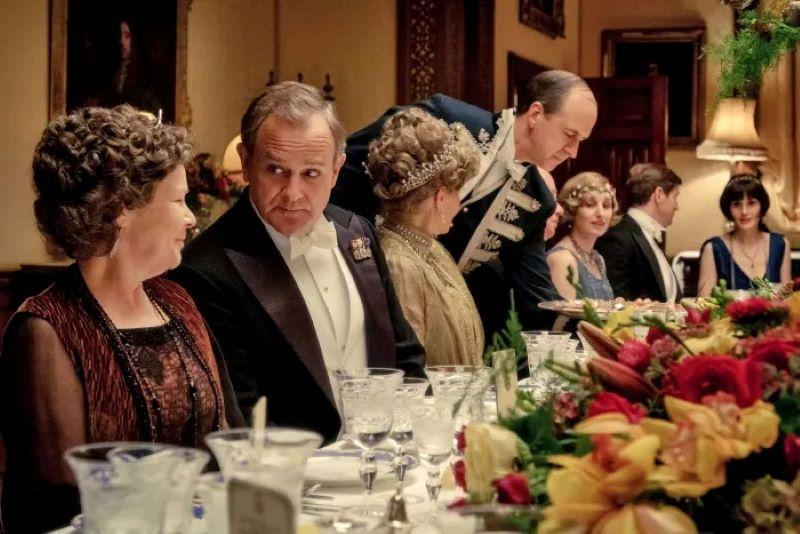 Colorful table floral arrangement Downton Abbey