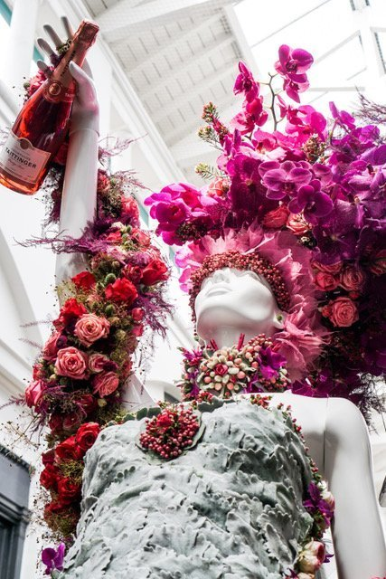 Flowered Mannequin with Champaign