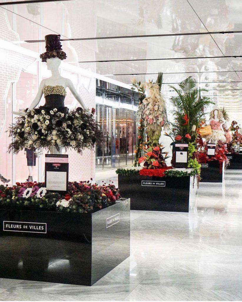 Flowered dresses on display